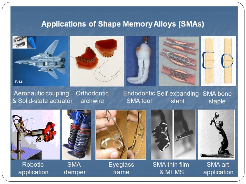 applications of shape memory alloys in Titanium-nickel (tini) based shape memory alloys (smas) are used in a wide range of applications they are especially practical as thin film actuators because of the large work output per.